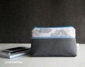 MinnePouch by MinneBites / Small Wristlet Purse - Gray Clouds Handmade Purse - Phone Wallet - Handmade Zipper Wristlet - Ready to Ship
