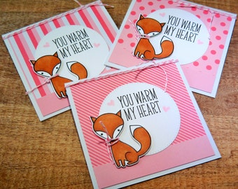 Fox Valentine Card Set of 3, Thank You Notes, Fox Thank You Cards Set, Winter Thank You Notecards, Teacher Gift