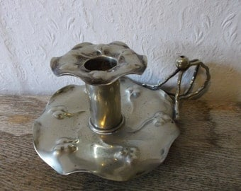 English Antique 1900s Art Nouveau Silver Candlestick Holder