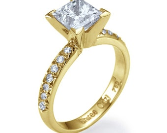 Solitaire Ring Princess Diamond Ring 1.00 CT Enhanced Natural Diamond Engagement Ring G VS2 14K Yellow Gold Ring Size 4.75 Jewelry