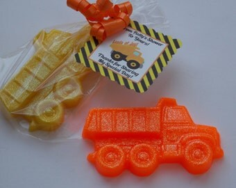10 DUMP TRUCK SOAPS {Favors} - Road Work, Transportation, Under Construction, Construction Dump Truck, Birthday, Baby Shower, Wedding