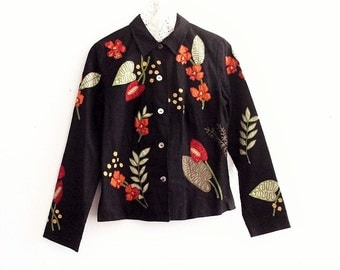 Embroidered Embellished Black Cotton jackets