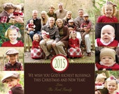 Picture Christmas Card - Multiple Designs - Digital File - You Print - Customizable - 9 photos