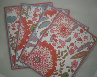 Floral Note Cards, Blank Note Cards, Set of 4 Cards, Stationery, Thank You Cards, Note Cards and Envelopes, Red, Blue