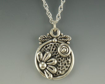 P703- Sterling Silver Flower and Sun Pendant- One of a Kind