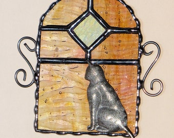 Stained Glass Suncatcher Cat Sitting in a Window, Kitty Kitty