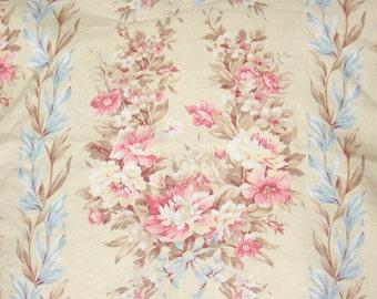 Vintage English Cabbage Rose Floral Botanical Linen Fabric Custom Drapery Panels