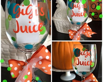 Personalized GiGi's Juice Wine Glass - Hostess Gift - Mimi - Grandma's Juice - Mother's Day - Nana's Juice - Grandparent - Gammy