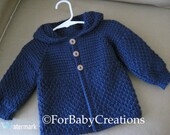 Navy Blue Crochet Baby Sweater with Hood for Boy or Girl - MADE TO ORDER - Tunisian Crochet - Handmade