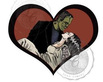 Hand Drawn Frankenstein's Monster & Bride Valentine's Day