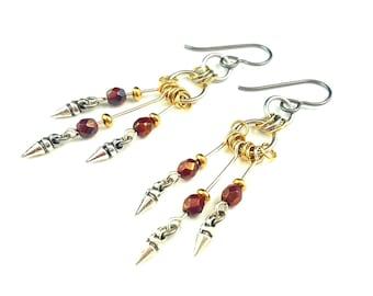 Silver & gold earrings - elegant chandelier earrings - silver spike hypoallergenic earrings - edgy bohemian earrings - rocker chic