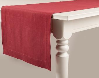 Red table runner, Red linen table runner
