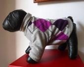 "SIZE S, Cashmere Dog Sweater/Turtleneck, Grey Argyle, ""Spiffy Pup"""
