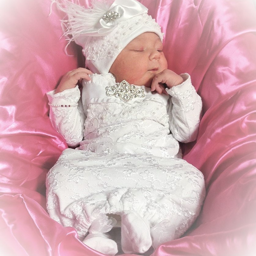 Newborn Girl beaded Ivory Lace beaded take home layette gown