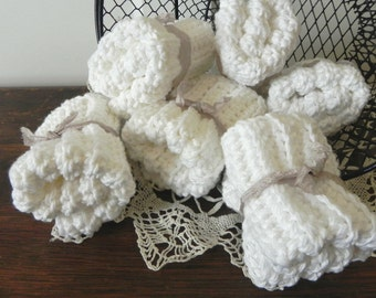 WHITE - 3 Crochet Cotton Cloths