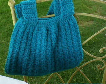 Aquamarine Blue Textured Boho Chic Style Crochet Handbag by WeeWoollyBurros