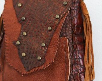 Riders on the Storm    Handmade faux Alligator leather purse bag shoulder bag