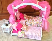 Bohemian Canopy Bed pink bedding for 18 in American Girl doll