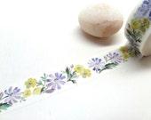 Purple Flower Yellow Flower Washi Tape,  15mm x 10m