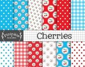 60% OFF SALE Cherry Digital Paper Pack, Cherries Digital Scrapbook Paper, Summer Fruit Background, Retro, Kitsch, Instant Download, Commerci