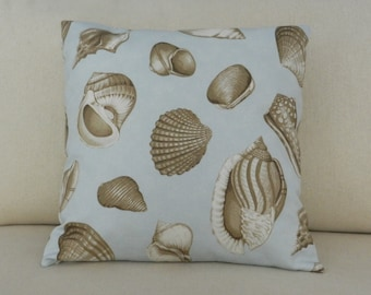 Seashell Pillow Cover, Brown, Blue Sateen Screen Print home dec fabric, 18 x 18 inches, invisible zipper for sofa, chair, bed