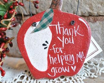 Apple Ornament Handcrafted Salt Dough Teacher Thank You Gift