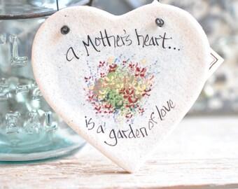 Mother's Day Gift for Mom Salt Dough Heart / Birthday Gift / Baby Shower Favor Hanging Salt Dough Gift Ornament