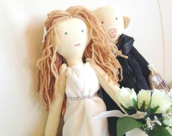 Handmade custom wedding dolls,  bride and groom doll, Just Married dolls made by photo, Wedding photo props, Wedding decoration doll