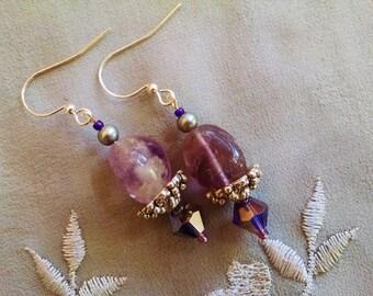 Amethyst dangle earrings, Silver amethyst, gray pearl, lavender/gray crystal dangle earrings