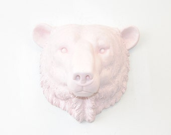Faux Taxidermy - Light Pink Polar Bear Wall Mount - Arctic polar bear Faux Taxidermy PBE06