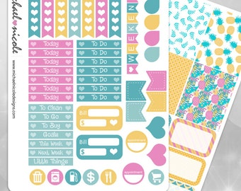 Pineapple Passion Weekly Planner Stickers perfect for Erin Condren Planner | Item MP-004
