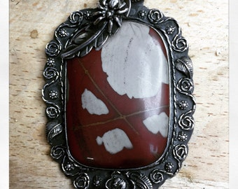 Picasso Jasper in Handmade sterling setting with spider and rose