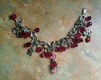 Lovely Swarovski Crystal Heart/Love/Valentine Charm Bracelet