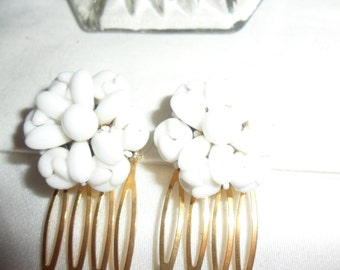 Authentic Vintage Two White Milk Glass Gold Hair Comb, WEDDING, BRIDE, PROM