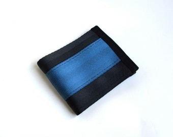 Vegan Billfold Wallet - Cadet Blue and Black Seatbelt Webbing - Velcro Wallet (SBW-V3)