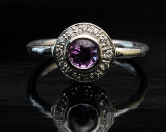 super silver ring with violet Sapphire ring.