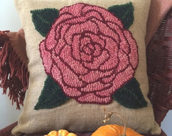 Hand Hooked Rug - Beautiful Rose Throw Pillow on Natural Linen