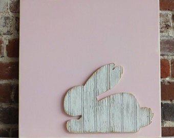 Wooden Bunny Wall Art, Bunny Decor, Nursery Decor, Baby Shower, Hospital Guestbook Alternative, Easter Decor, Girls Bedroom Art, Baby gift