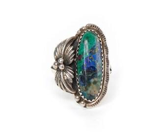 Native American Green & Blue Azurite in Silver Setting Ring