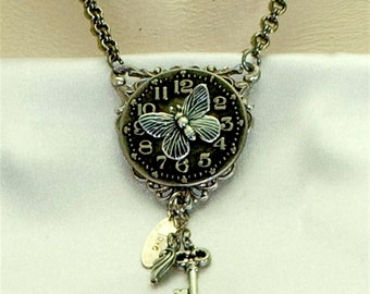 Vintage Victorian Steampunk Filigree Clockface Butterfly Focal Pendant Necklace