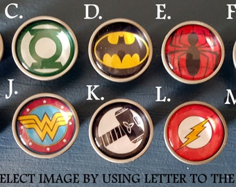 Superhero Dresser Knobs / Bedroom Dresser Knob / Superhero Nursery /  Superhero Glass Knobs / Superhero