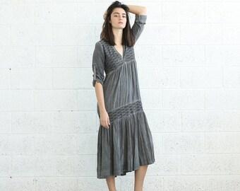 Final Summer Sale SALE!V-Neck Boho Dress, Gray.