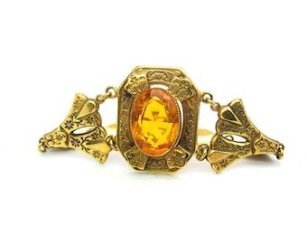 Victorian Revival Bracelet. Topaz Glass, Gold Filled. Large Citrine Glass Stone. Floral Vine Links. Antique Style. Vintage Victorian Jewelry