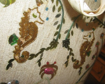 Rough Condition Sequined and beaded Sea horse and crabs under vinyl vintage mod large tote bag