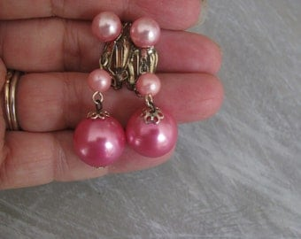 Three pink ball drop dangle clip earrings