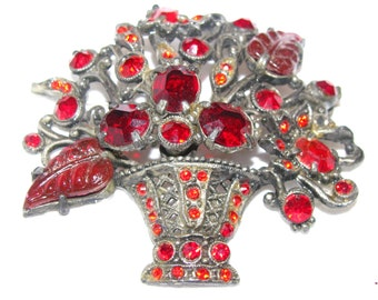 antique  French pot metal brooch with red molded glass stones.