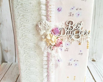 Wedding Album, Shabby Chic Album, Quinceanera Album, Baby Girl Album, Fabric Wedding Album, Roses and Lace, Handmade Album, Custom Made