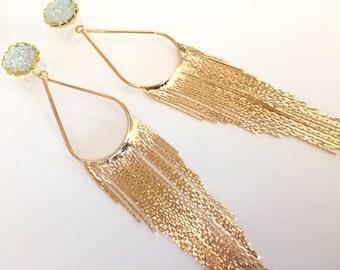 Glitter Plugs 0g 2g 4g 6g Dangle Plugs Glitzy Druzy Jewelry Gold Gauged Earrings 00g Ear Plugs Long Chandelier Dangles Glitter Gauges