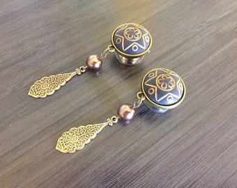 "1/2"" Plugs 7/16"" 000g 9/16"" Bronze and Brass Teardrop Gauged Earrings 12mm/14mm/11mm Dangle Plugs And Tunnels Acrylic/Steel/Wood Plugs"