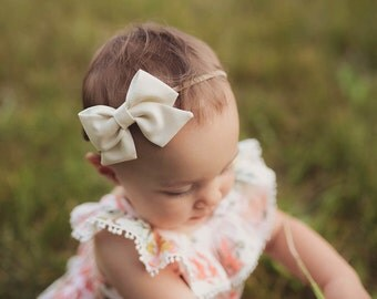 Cream Bow Baby Headband - Cream Sailor Bow - Off White Folded Sailor Bow Headband Clip - Cream Sailor Bow Headband - Cream Fabric Baby Bow